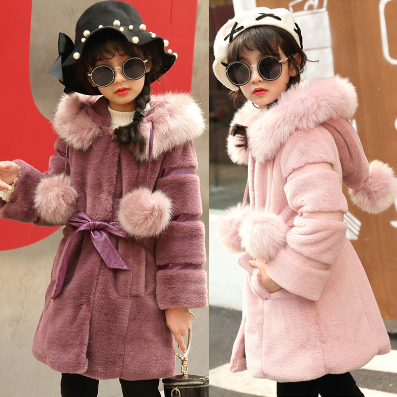 2017 Girls Winter Jackets Warm Faux Fur Fleece Coat Children Jacket Rabbit Ear Hooded Outerwear Kids Jacket for Girls Clothing winter kids rex rabbit fur coats children warm girls rabbit fur jackets fashion thick outerwear clothes