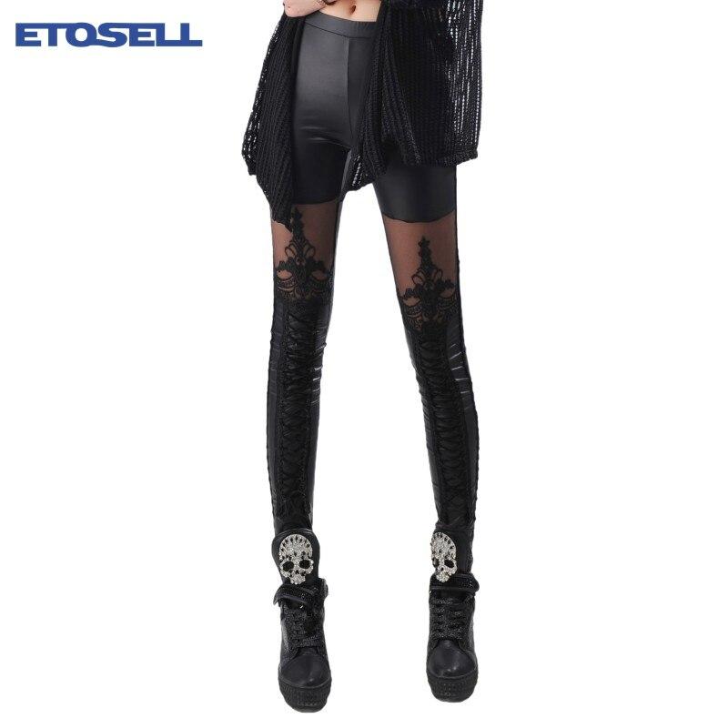 ETOSELL, 1 шт., сексуальные эластичные леггинсы из искусственной кожи с окантовкой, черные леггинсы в стиле панк, готика, модные женские штаны