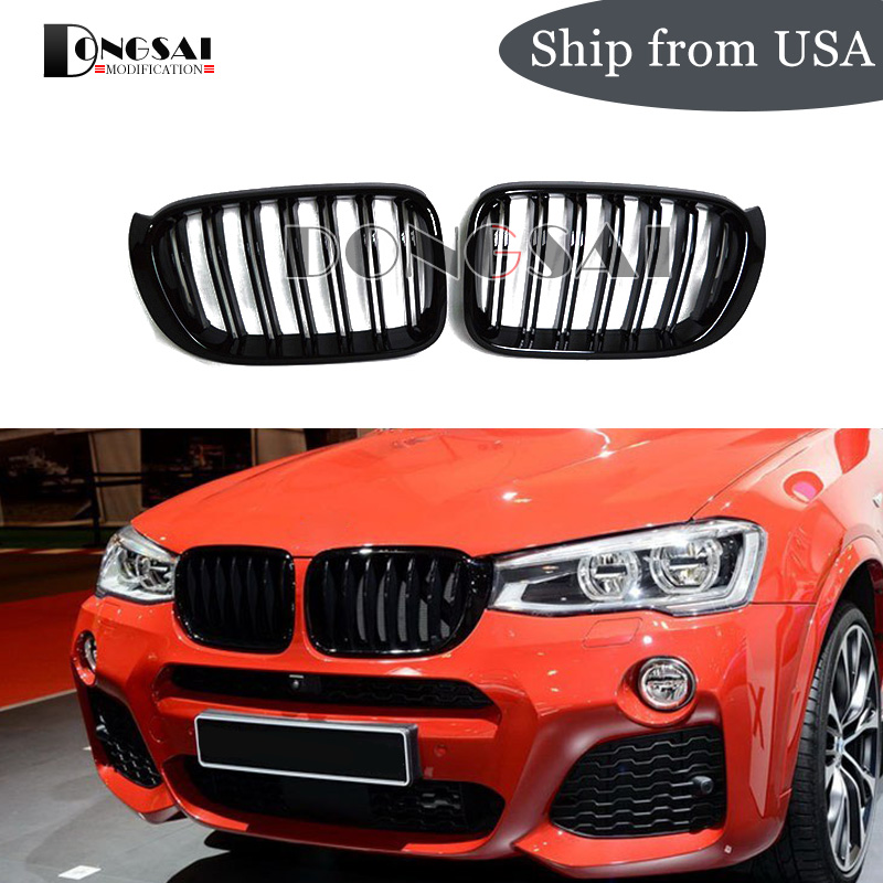 X3 X4 F25 F26 Gloss Black Front Bumper Kidney Grille Mesh For BMW SUV 2014 + 2-Slat ABS Replacement Car Styling image