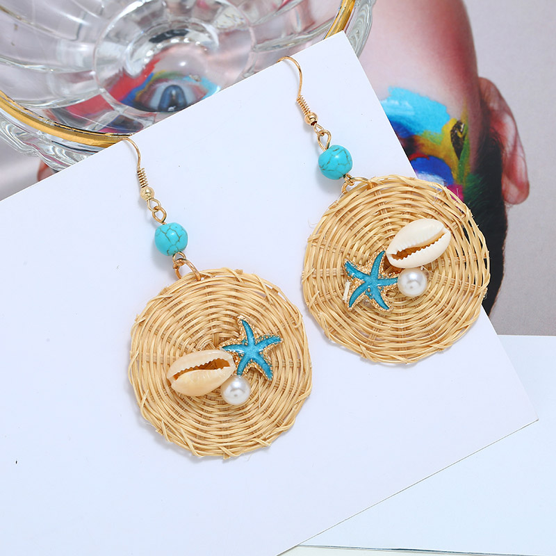 Fashion Korea Handmade Wooden Straw Weave Rattan Vine Braid Drop Earrings New Fashion Geometric Long Earrings Women Jewelry