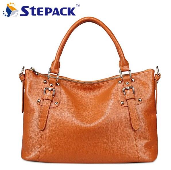 ФОТО 2016 New Arrival Female Bag British Classical Rivet Hangbag High Quality Cowhide Messenger Bags Totes Bag  WMB0065