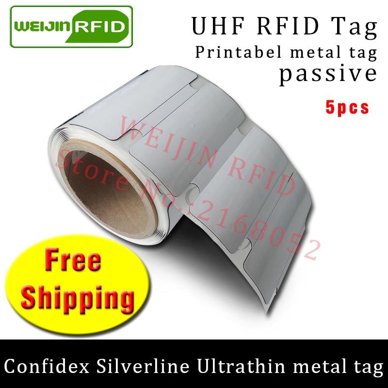 UHF RFID Ultrathin metal tag confidex silverline 915mhz 868mhz Impinj M4QT EPC 5pcs free shipping printable passive RFID label uhf rfid metal tag 915mhz 868mhz impinj