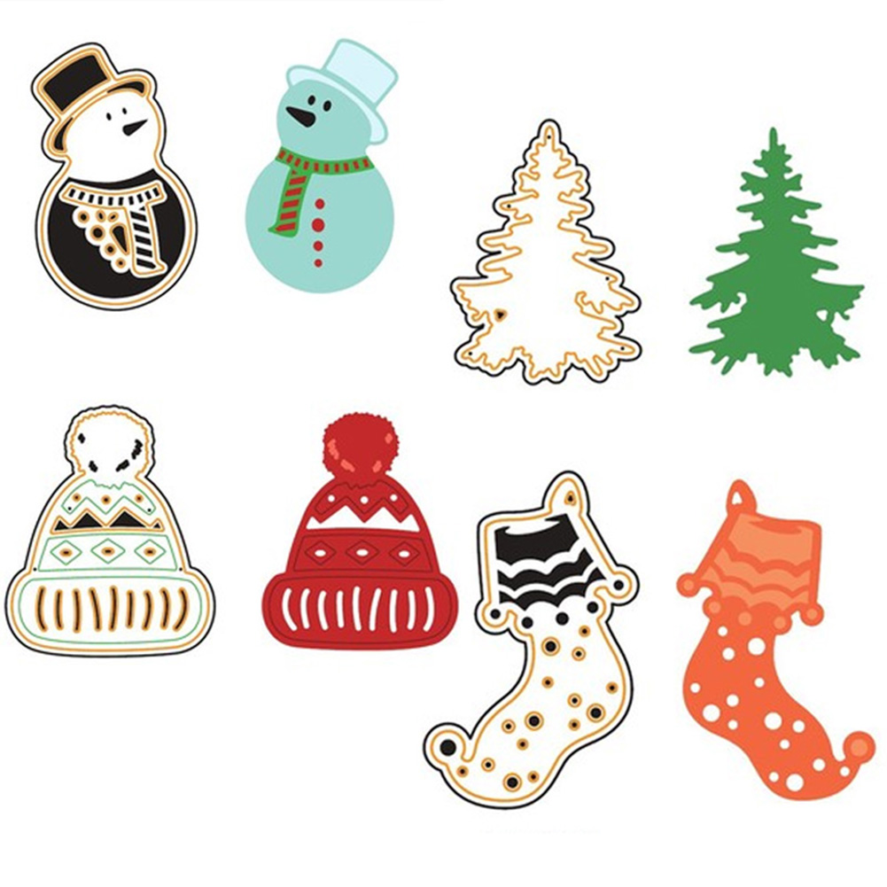 1pc Fashion Merry Christmas New Year Metal Snowman Xmas Socks Stencils DIY Home Decor Sc ...