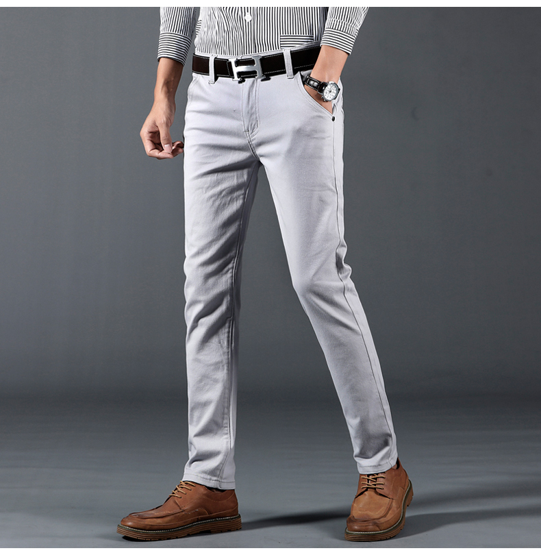 HTB1ea31aynrK1Rjy1Xcq6yeDVXaW 6 Color Casual Pants Men 2019 Spring New Business Fashion Casual Elastic Straigh Trousers Male Brand Gray White Khaki Navy
