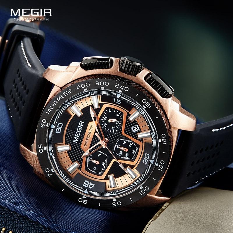 Megir Mannetjes Mens Chronograph Sport Horloges Met Quartz Uurwerk Rubberen Band Lichtgevende Horloge Voor Man Jongens 2056G-1N0 2