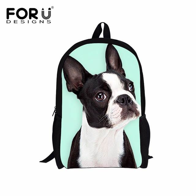 FORUDESIGNS Children School Bags Cute Boston Terrier Print ...