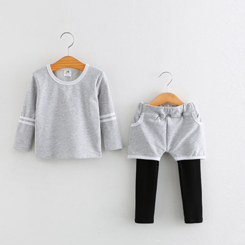 2018 Spring Clothing Sets New Casual Kids T Shirt Long Sleeve+Girls Trousers Elastic Waist Simple 2 Pieces Clothes 4784W 2017 new spring women maternity t shirt