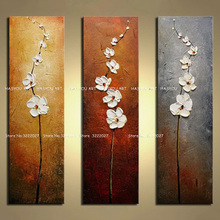 Hand Painted Colorful 3pcs Flower Oil Painting Knife Paintings Modern Abstract Picture Wall Pictures For Living Room Canvas Art