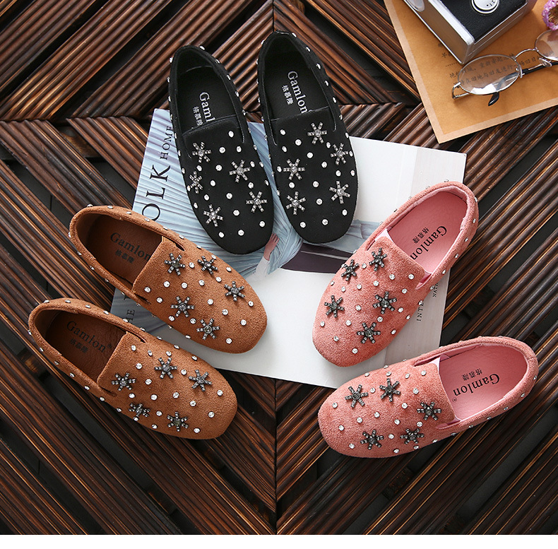 WENDYWU 2017 Girls small leather shoes Korean version of the diamond princess shoes shallow mouth children soft bottom peas shoe wilson jacqueline the diamond girls