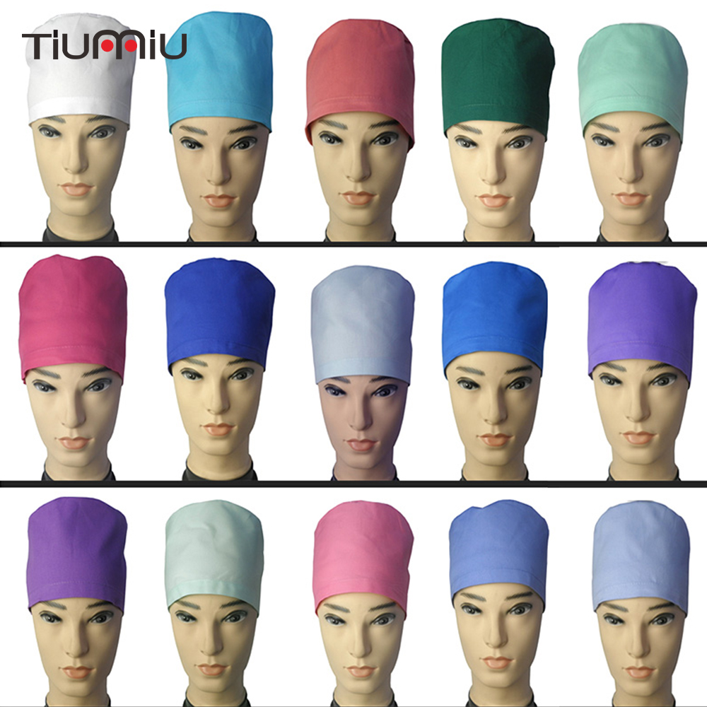 High Quality Medical Surgical Hat Dentist Pet Doctor Caps Scrub Cotton Cap Doctor Nurse Work Hats Men Women Adjustable Cap