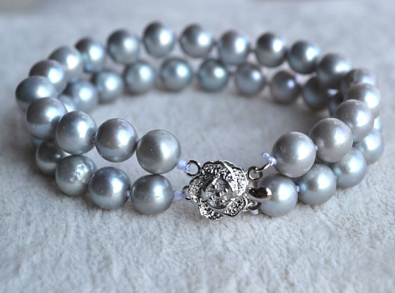 Perfect Pearl Jewellery,7inches 2Rows 7-8mm Gray Potato Freshwater Pearl Bracelet,Silver Flower Clasp,New Free Shipping