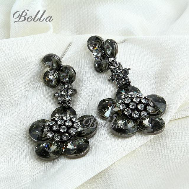 Wholesale jewelry wedding statement gold plated Black flower charm women Austrian crystal trendy pendientes Drop Earrings(E0148)