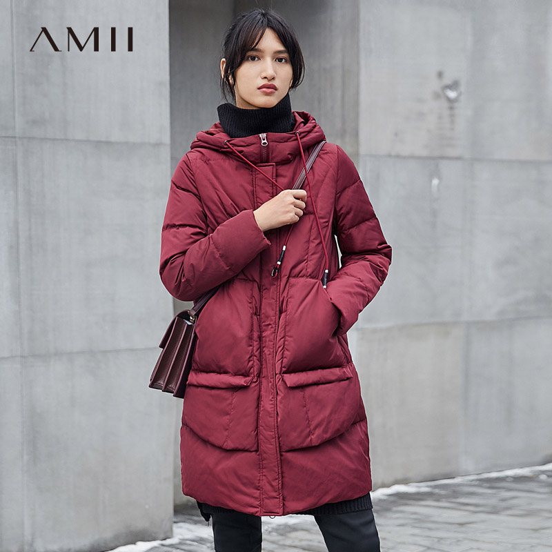 Amii Minimalist Women 2018 Winter Loose 90% White Duck   Down     Coat   Hoodie Pocket Jacket   Coats