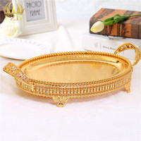 1Pcs Hollow Metal Fruit Serving Tray Golden Decorative For Wedding Party Supplies And Home Decoration LX