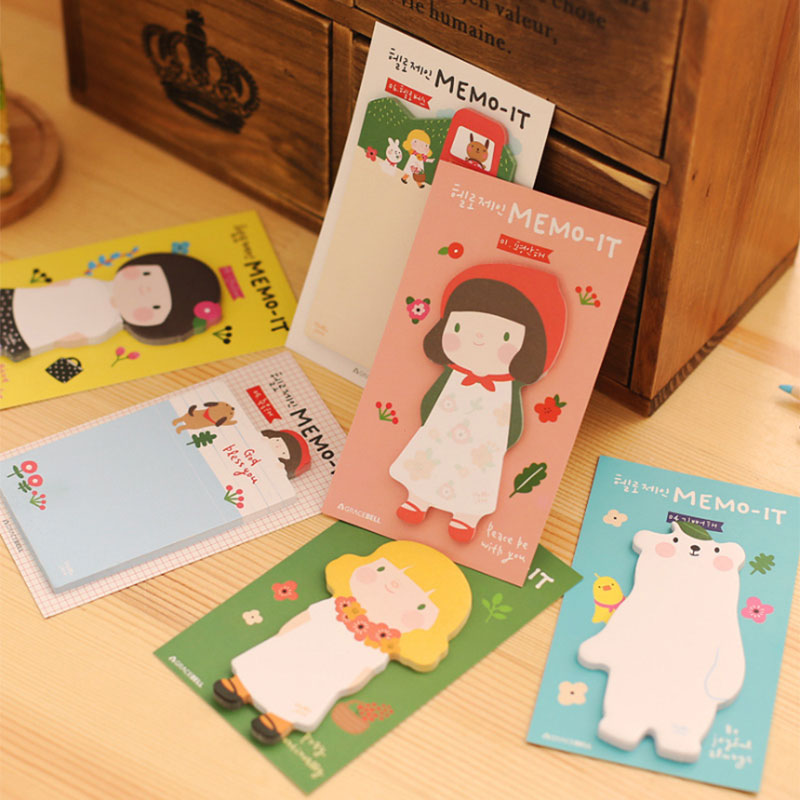 3pcsX Cute Korean girl Kawaii Sticky Notes Post Memo Pad School Supplies Planner Stickers Paper Bookmarks Office Stationery