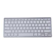 450 Ultra Thin Portable Standard 78-Key Wireless Bluetooth Keyboard for pad phone MAC PC (Silver)