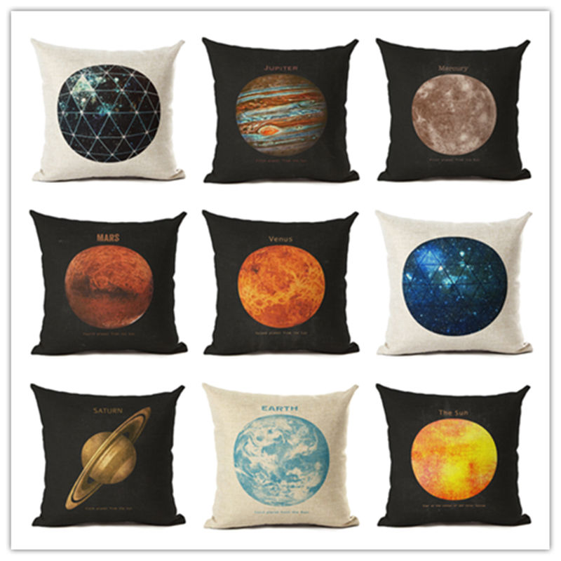 2017 Hot Selling Planets Home Decorative Sofa Cushion Throw Pillow Case Cotton Linen Square Pillows
