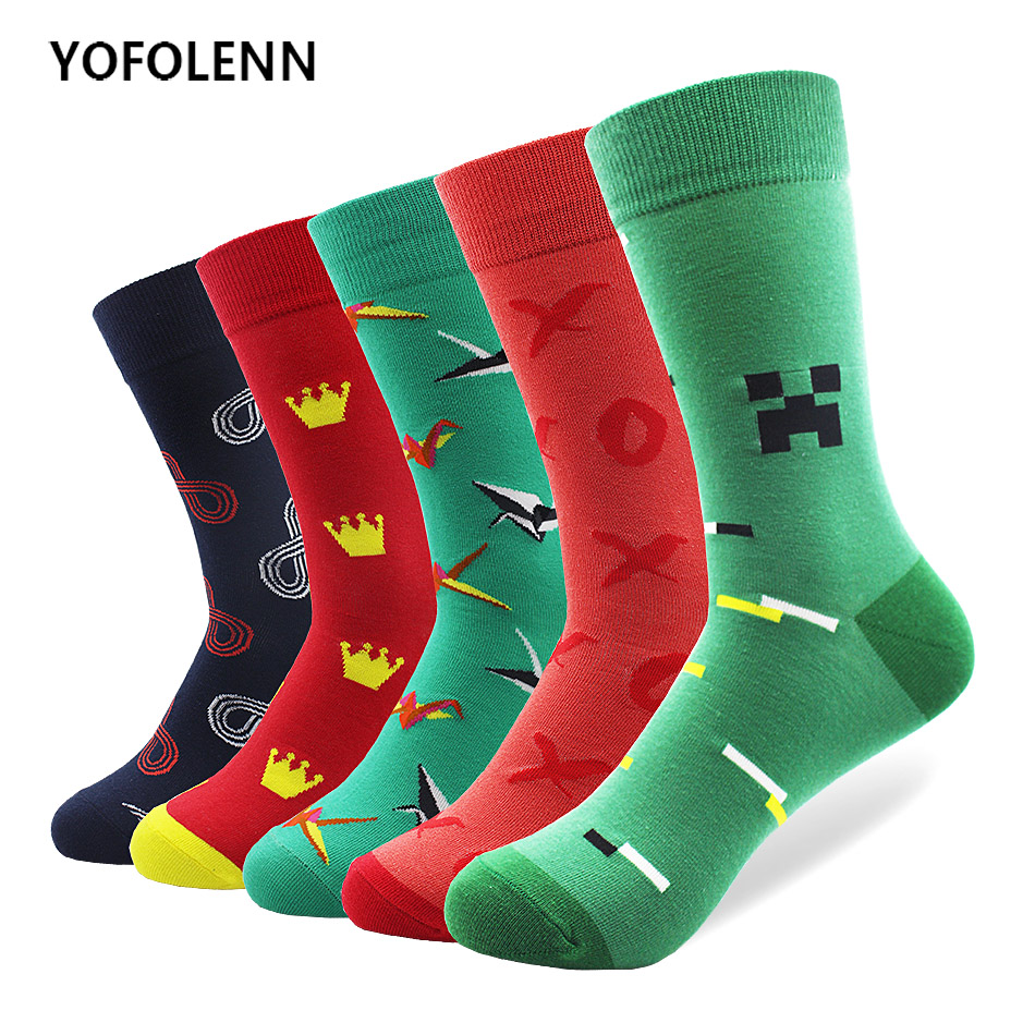 5 Pair/lot Colored Long Tube Carton Socks Combed Cotton Material High Quality with Black Red Green Color Happy Funny Cool Socks