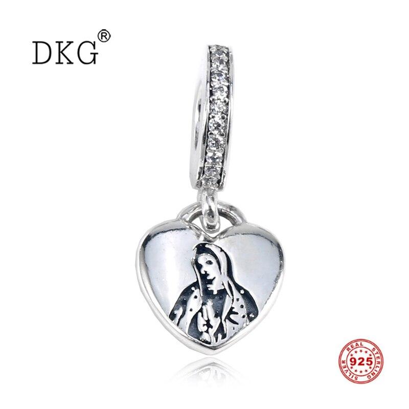 Новый Настоящее 925 пробы 100% Серебряное сердце с милый кулон с кристаллом висит Бусины Подходит для женщин браслет DIY ювелирных изделий