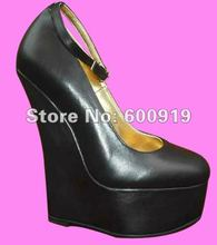 Free shipping 16CM Heel Height Sexy Genuine Leather Round Toe Wedges Heel Pumps Party Shoes heels US size 5-14.5 No.Y1608