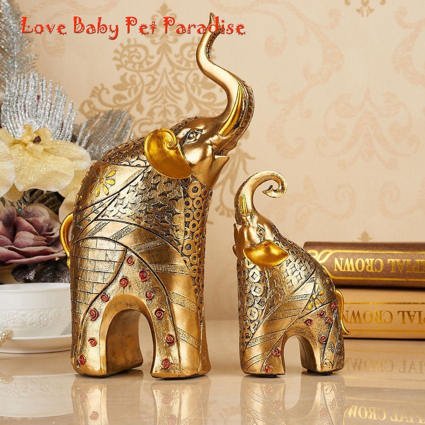 1 пара статуетки Золотий слон Гарячі - Домашній декор