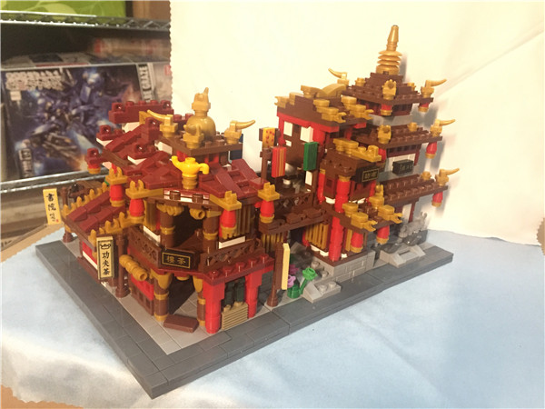 Zhong Hua Street Serie 1502Pcs 4 In 1 The Teahouse Library Cloth House Wangjiang Tower Building Blocks Brick Figures Toys Gift riggs r library of souls