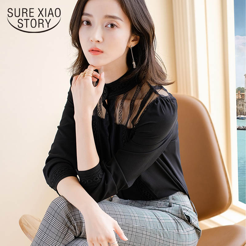 2019 spring fashion new black lace shirt retro shirt long-sleeved O-neck women perspective chiffon Office work shirts 2499 50