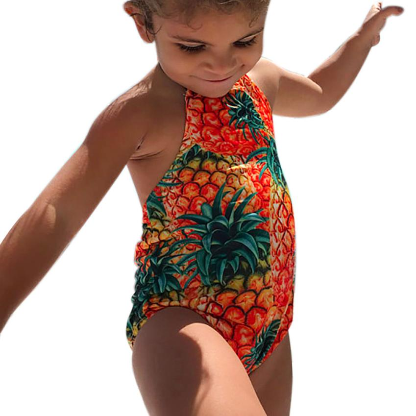 Baby Girls Swimwear Halter Pineapple Print Cute One Pieces Swimsuit for Summer Beach Cusual Party 18May14