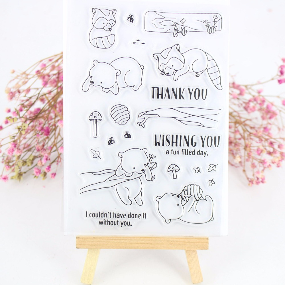 YPP CRAFT Fox And Bear Transparent Clear Silicone Stamps for DIY Scrapbooking/Card Making/Kids Fun Decoration Supplies