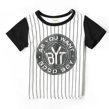 Children's clothing 2016 Korean Fashio baby boy girl children t-shirts printing striped cotton short sleeved leisure T-shirt
