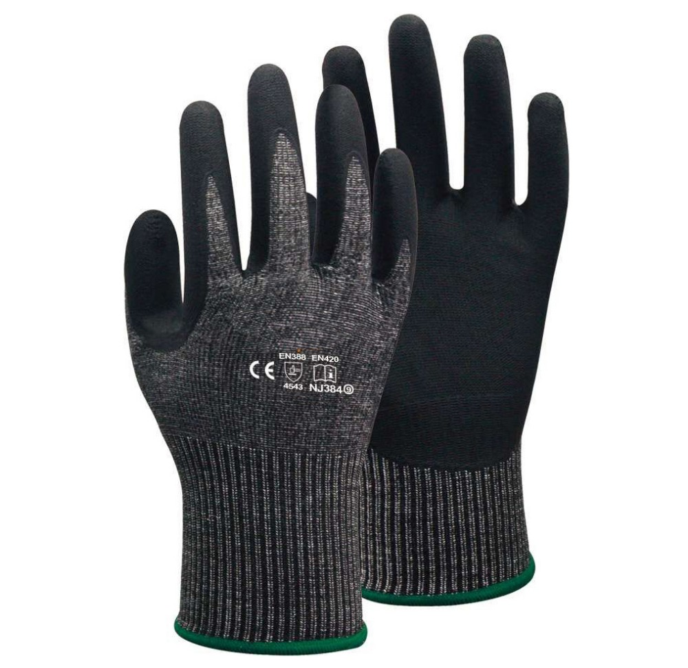 5 Pairs HPPE Foam Nirile Dipped ANSI Cut Proof 4 Safety Glove EN 388 Cut 5 Resistant Work Glove