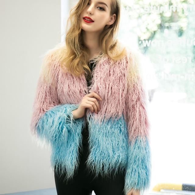 Gradient Casual Winter Short Shaggy Cardigan Fur Coat Fluffy Faux Fur Chic  Female Outerwear Long Sleeve
