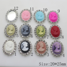 10pcs/set 25mm*20mm Resin Oval Rhinestone Buttons Diy Accessories Wedding Invitation Beauty Avatar Shiny Buckle
