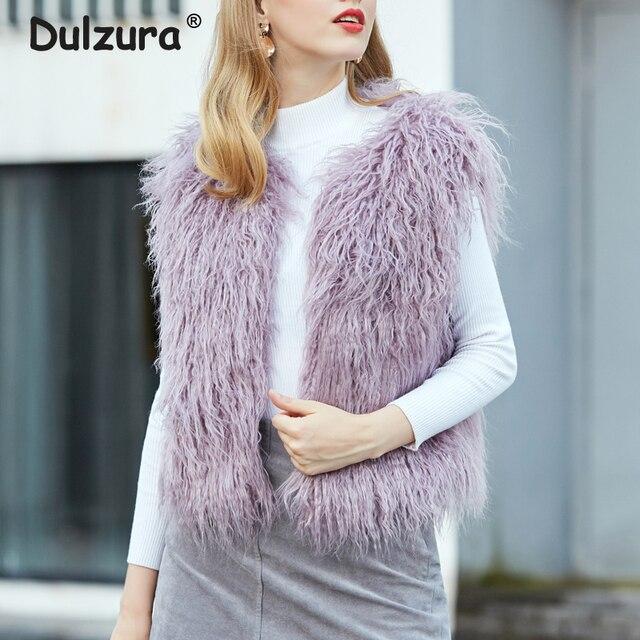 ca6e262acc 2018 Puszyste Fioletowy Faux Futro Kamizelka Kobiet Moda Zima Bez Rękawów  Faux Fur Jacket Płaszcze Furry