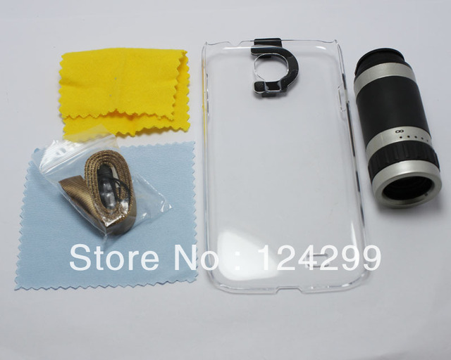 8X Zoom Optical Mobile Phone Telescope  For Samsung Galaxy S4 i9500 with transparent plastic case