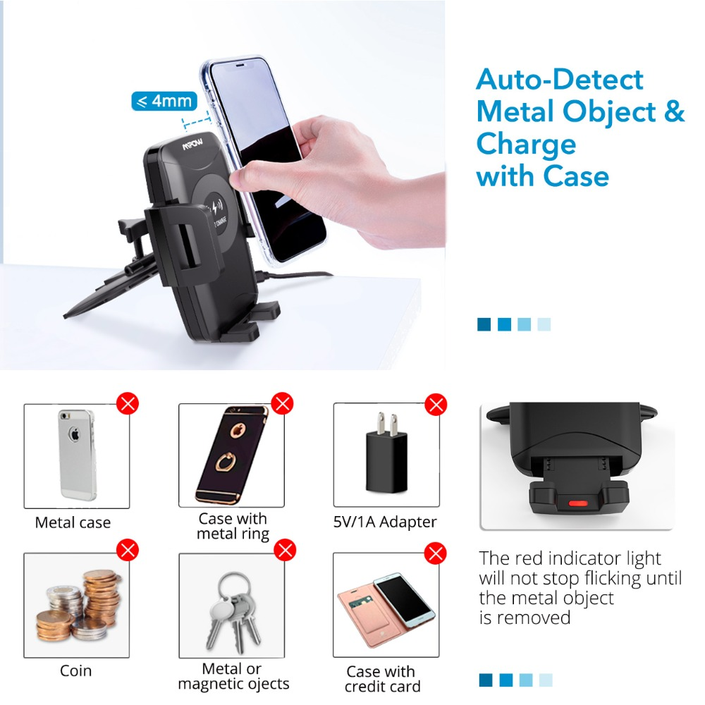 Image 2 - Mpow CA108 2 in 1 10W/7.5W/5W Qi Wireless Charger CD Slot Car  Phone Holder Stand For iPhone X 8/Plus Samsung S9 S8 S7 S6 Note 8Phone  Holders