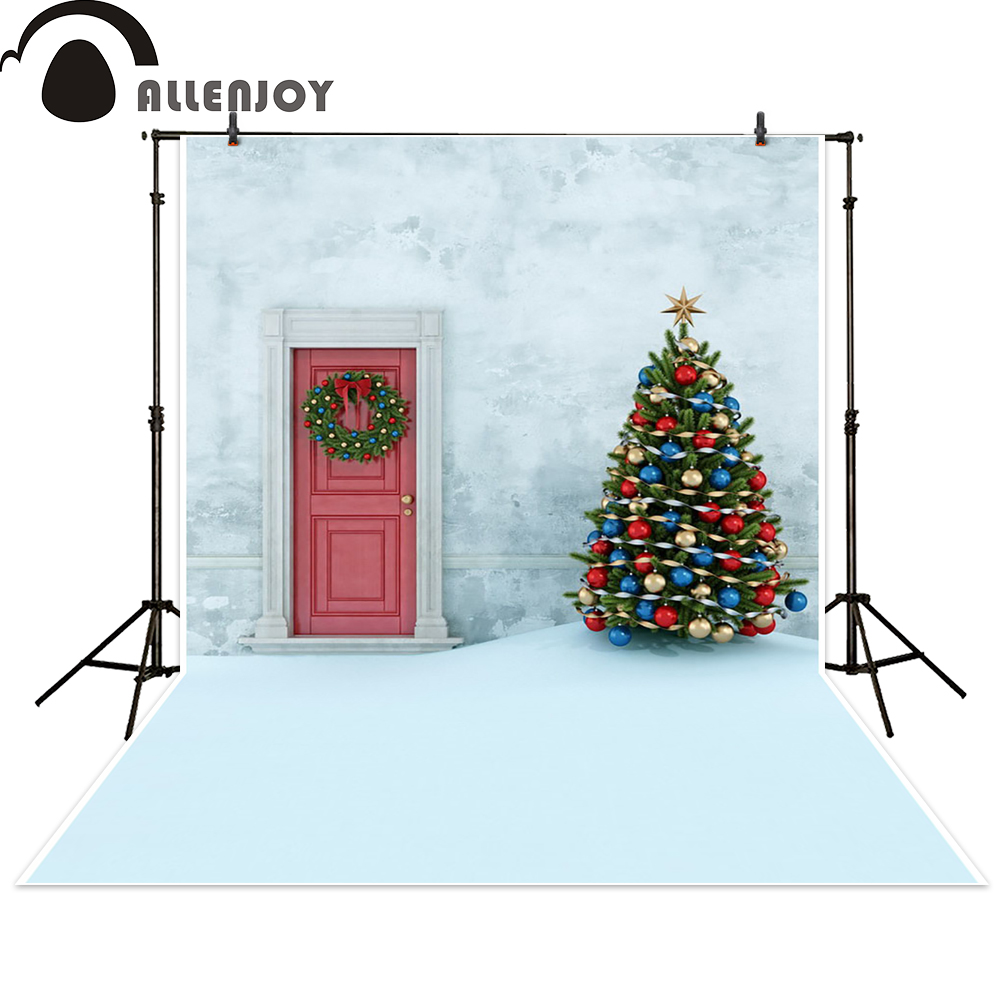 Allenjoy background Christmas tree red door snow backdrop photocall photographic photo studio photobooth fantasy photography allenjoy christmas photography backdrop wooden fireplace xmas sock gift children s photocall photographic customize festive