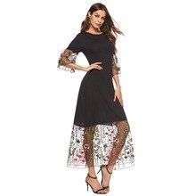 2019 Elegant Embroidered Applique Mesh Sleeve Dress Women 2019 Spring Flare Sleeve Loose O-Neck Dresses Ladies Dress lantern sleeve embroidered rose applique dress