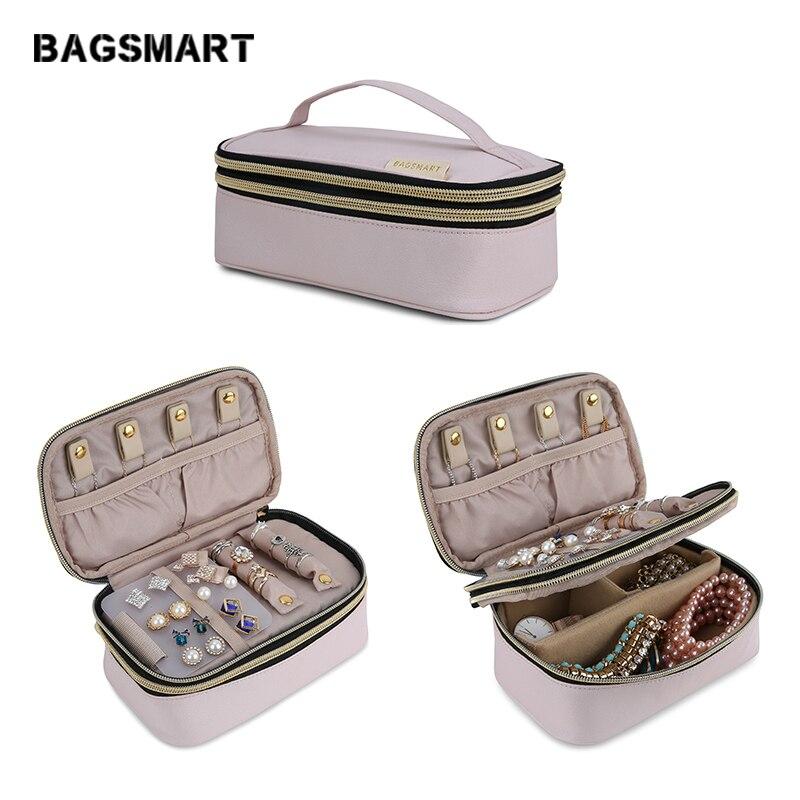 BAGSMART Voyage pochette à bijou Femmes couche double Bijoux Rouleaux porte-collier Boucle D'oreille Anneau de Stockage De Poche compartiment à bagages pour Femmes