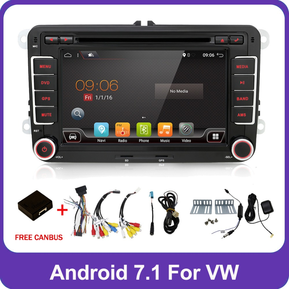 2 Din Quad 4 Core android 7.1 lecteur dvd de voiture Aux stéréo gps pour VW Skoda POLO GOLF 5 6 PASSAT CC JETTA TIGUAN TOURAN Fabia Caddy