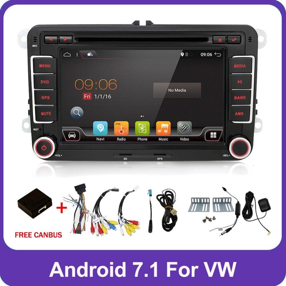 2 Din Quad 4 Core android 7.1 car dvd player Aux gps Stereo For VW Skoda POLO GOLF 5 6 PASSAT CC JETTA TIGUAN TOURAN Fabia Caddy