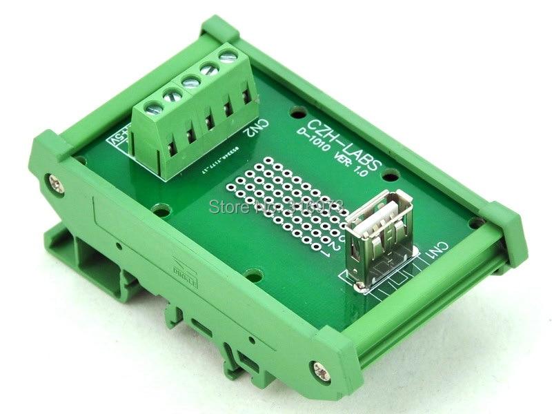 DIN Rail Mount USB Type A Female Vertical Jack Module Board.