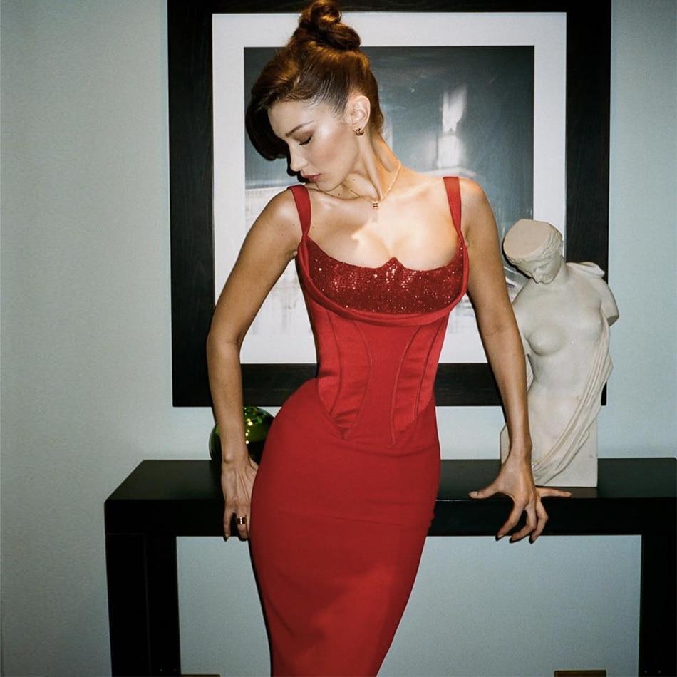 Seamyla New Elegant Bandage Dress Women Sexy Sleeveless Celebrity Party Dresses Vestidos 2019 Summer Red Maxi