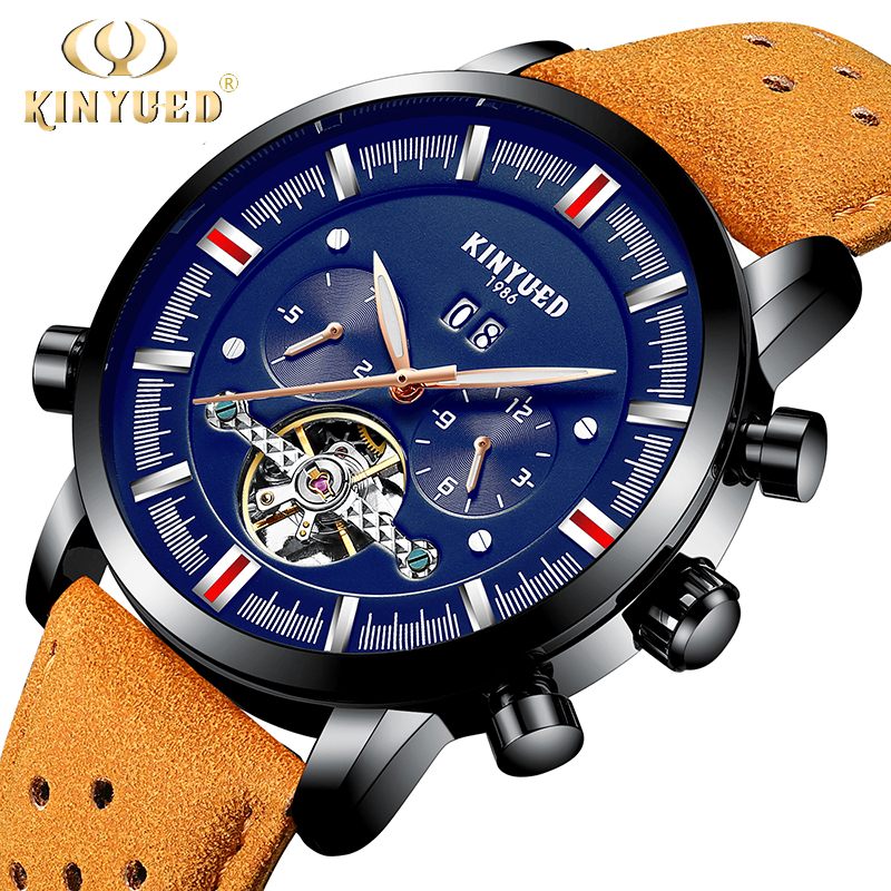 KINYUED Perpetual Calendar Top Brand Mens Watches Automatic Mechanical Watch Men Skeleton Tourbillon Relogio Masculino Dropship kinyued fashion tourbillon skeleton watch men sport luxury brand mens automatic mechanical watches calendar relogio masculino