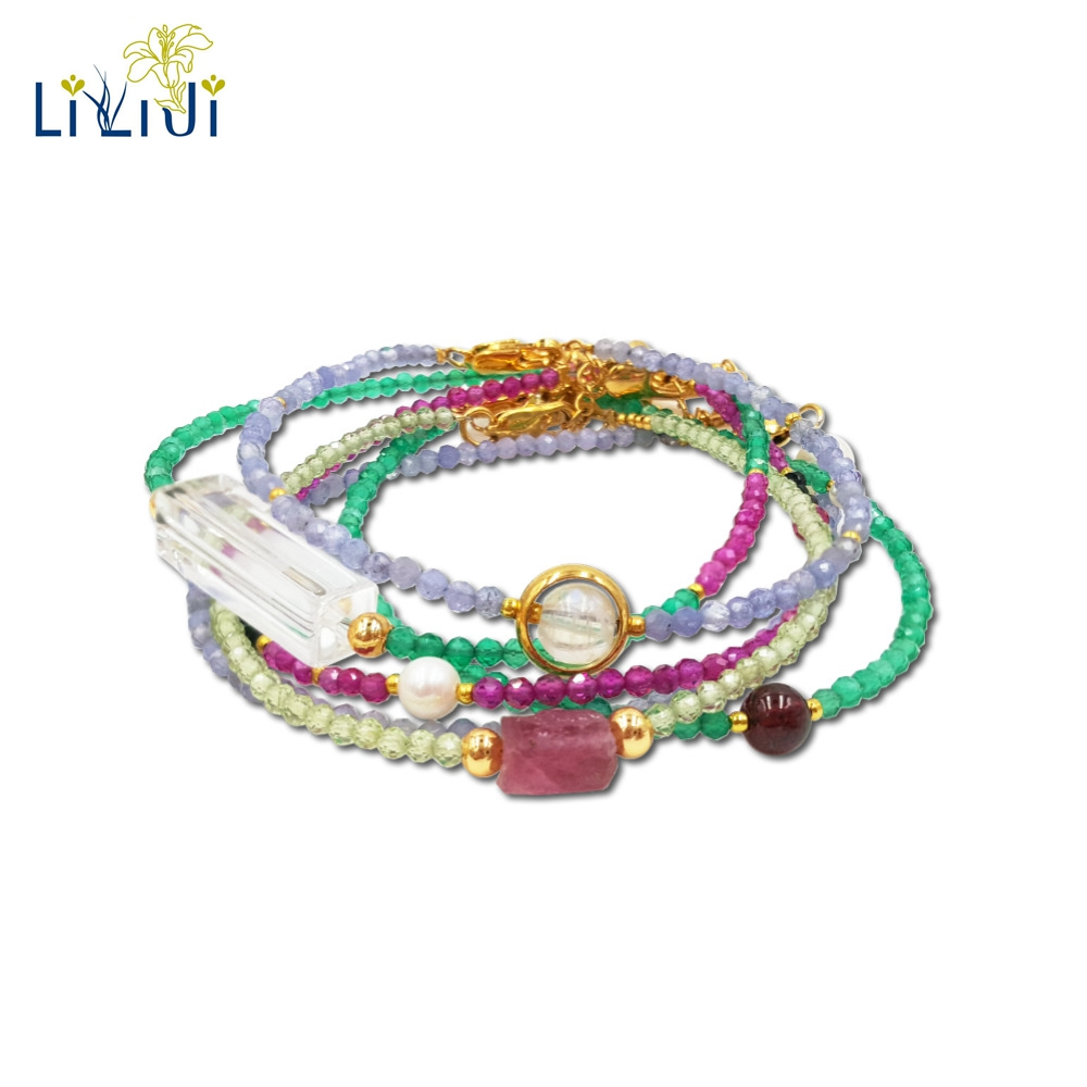 Lii Ji Natural Gemstone Green Onyx,Peridot,Tanzanite,Lab-created Ruby,Moonstone,Clear Quartz BraceletLii Ji Natural Gemstone Green Onyx,Peridot,Tanzanite,Lab-created Ruby,Moonstone,Clear Quartz Bracelet