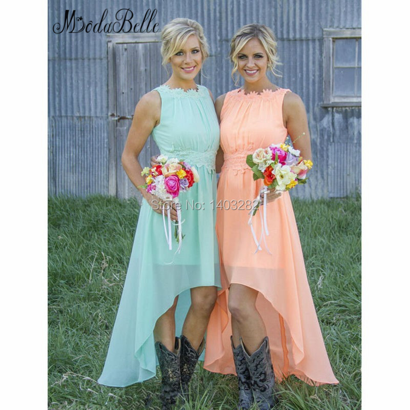 2016 country wedding high low bridesmaid dresses long for Country dresses for wedding guest
