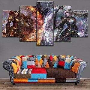 Модульная картина рамки холст HD печать 5 шт. Лига Легенд Диана и Леона, настенное искусство, игра, постер, картина для гостиной