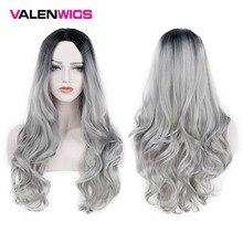 Valenwigs peruca ombré dois tons, preta a prata cinza sintética, resistente ao calor sem cola cabelo ondulado longo cosplay mulheres