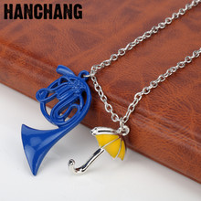 Sitcom TV Series How I met your Mother Necklace Collier Himym Romantic Yellow Umbrella Blue French Horn Pendant Necklace
