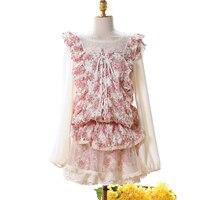 Принцесса Милая принцесса Лолита сладкий длинный рукав вязаный свитер кружева сетки вязаный завод цветок низкий свитер с круглым воротник